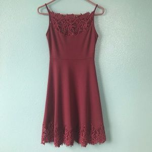 Free People Burgundy Dress with lace detail. Sz xs
